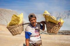 Mineros no identificados del azufre Imagen de archivo