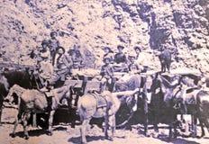 Mineros y sus familias Imagen de archivo libre de regalías