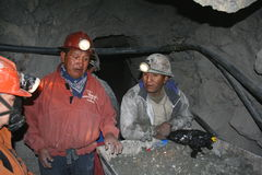 Miners. Working in one of the most worlds dangerous mines - potosi, bolivia Royalty Free Stock Photo