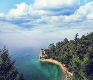 Miners castle pictured rocks. Miners Castle rock formation . Located in Pictured Rock National Shoreline, Michigan, USA stock photo