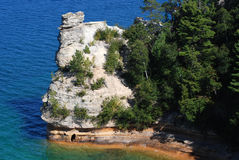 Miners Castle at Pictured Rocks National Lakeshore in Michigan. Miners Castle is a rock formation jutting out into the clear waters of Lake Superior, Pictured Royalty Free Stock Photo