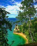 Miners Castle Point at Pictured Rocks National Lakeshore. Overlooking Miners Castle Point at Pictured Rocks National Lakeshore on Lake Superior in Upper Royalty Free Stock Images