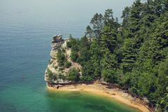 Miners Castle rock formation . Located in Pictured Rock National Shoreline, Michigan, USA royalty free stock photos
