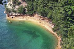 Miners Castle rock formation . Located in Pictured Rock National Shoreline, Michigan, USA stock photo
