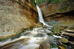 Miners Falls, Pictured Rocks National Lakeshore. Beautiful long exposure of Miners Falls. This waterfall is in the Pictured Rocks National Lakeshore, Munising Stock Image