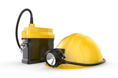 Miners helmet with lamp on a white background Stock Photography