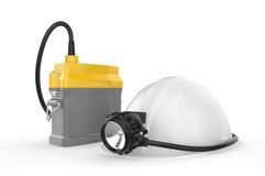 Miners helmet with lamp on a white background Stock Images