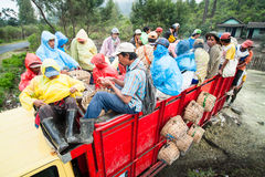 Miners of Kawah Ijen in Java, Indonesia prepare to go back home after work Royalty Free Stock Photo