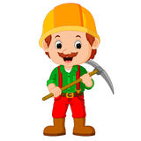 Miners posing with a pickaxe Royalty Free Stock Photography