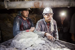 Miners in Potosi. POTOSI, BOLIVIA - MAY 21, 2015: Unidentified miners at Cerro Rico silver mine in Potosi, Bolivia Royalty Free Stock Image