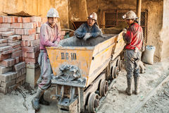 Miners in Potosi. POTOSI, BOLIVIA - MAY 21, 2015: Unidentified miners at Cerro Rico silver mine in Potosi, Bolivia Royalty Free Stock Images