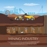 Miners Flat Composition. Miners with tools under ground flat composition with industrial equipment on background of plant silhouette vector illustration Stock Images