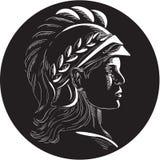 Minerva Head Side Profile Oval-Houtdruk Royalty-vrije Stock Afbeelding