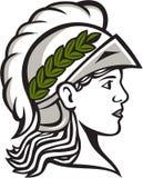 Minerva Head Side Profile Retro Royalty-vrije Stock Afbeeldingen