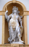 Minerva, Roman goddess of wisdom and sponsor of arts, trade, and strategy. Arsenal Zeughaus historic center listed as World Heritage by UNESCO in Graz, Styria stock photo