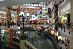 The Mines Shopping Mall, Kuala Lumpur. With waterway providing boat cruse services to the nearby lakes to all interested customers Stock Photos