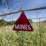 Its a Minefield. A sign indicating that a field has mines Stock Photography