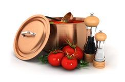 minestra 3d con l'ingrediente Fotografia Stock