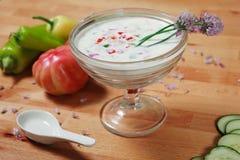 Minestra a base di panna di gazpacho fotografie stock