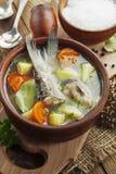 Minestra casalinga del pesce del fiume nella ciotola Fotografia Stock Libera da Diritti
