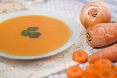 Minestra casalinga della carota Fotografie Stock