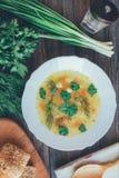 Minestra con le tagliatelle ed i verdi, il pane di cereale ed i pacchi delle cipolle, del prezzemolo e dell'aneto Fotografia Stock Libera da Diritti