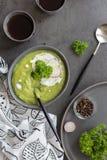 Minestra crema con i broccoli e la panna acida fotografia stock libera da diritti