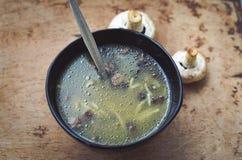 Minestra crema con i funghi Fotografia Stock