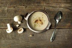 Minestra crema con i funghi Fotografie Stock