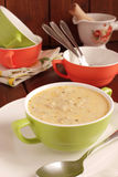 Minestra crema con le patate e la crema Fotografie Stock