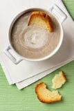 Minestra crema del fungo con i pani tostati Fotografia Stock
