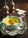Minestra crema della zucca con i tortellini del formaggio Fotografie Stock Libere da Diritti