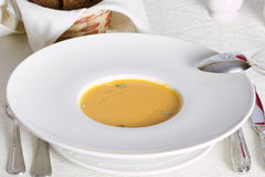 Minestra crema della zucca con il seme Immagine Stock