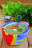 Minestra crema di verdure con un salmone Fotografie Stock