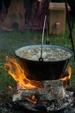 Minestra cucinata su fuoco Fotografia Stock Libera da Diritti