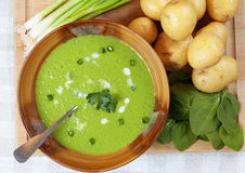 Minestra degli spinaci e di patate casalinga Fotografia Stock