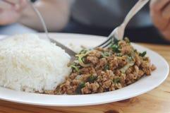 Minestra del basilico della carne di maiale molto delizioso fotografie stock