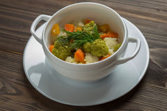 Minestra del cavolfiore dei broccoli Fotografia Stock Libera da Diritti