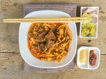 Minestra del curry della tagliatella Fotografia Stock