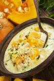 Minestra del formaggio con la zucca Fotografia Stock