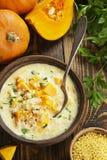 Minestra del formaggio con la zucca Fotografia Stock Libera da Diritti