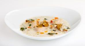 Minestra del latte di cocco con il pollo e le verdure Fotografie Stock