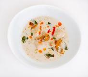 Minestra del latte di cocco con il pollo e le verdure Fotografia Stock Libera da Diritti