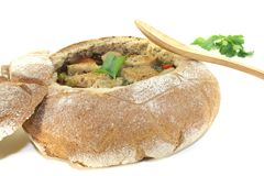 Minestra del pane con i verdi Immagine Stock