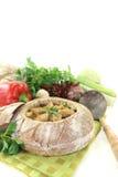 Minestra del pane con i verdi Immagini Stock
