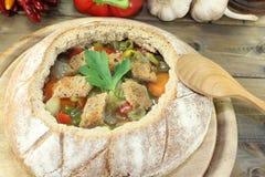 Minestra del pane con prezzemolo Fotografia Stock Libera da Diritti