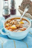 Minestra del pollo e delle verdure con i funghi ed i pomodori in una zuppiera blu con le maniglie su una tavola con il panno blu immagine stock