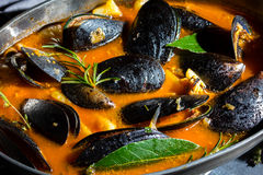 Minestra del pomodoro delle cozze dei frutti di mare in vaso del metallo Fotografia Stock