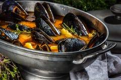 Minestra del pomodoro delle cozze dei frutti di mare in vaso del metallo Fotografia Stock Libera da Diritti