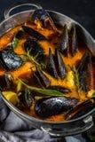 Minestra del pomodoro delle cozze dei frutti di mare in vaso del metallo Immagine Stock Libera da Diritti